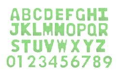 Letras y alfabeto inglés de los números Verde del color Imagen de archivo libre de regalías