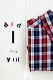 Letras y camisa del papá te amo Fotografía de archivo
