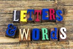 Letras y comunicación de las palabras Imágenes de archivo libres de regalías