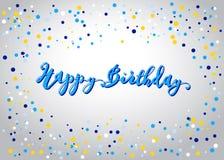 Letras y confeti del feliz cumpleaños Imagen de archivo libre de regalías