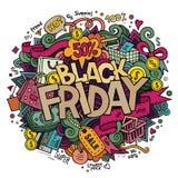 Letras y garabatos de la mano de la venta de Black Friday Fotos de archivo