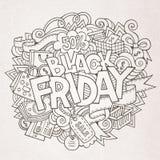Letras y garabatos de la mano de la venta de Black Friday Imagen de archivo