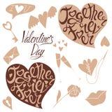 Letras y garabatos para el día de tarjeta del día de San Valentín ilustración del vector