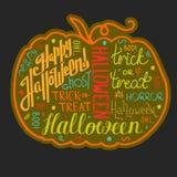 Letras y gráficos dibujados mano del texto de Halloween en carte cadeaux Foto de archivo libre de regalías