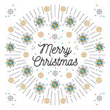 Letras y línea elegante fondo de la Feliz Navidad de marco del blanco del arte Imágenes de archivo libres de regalías