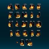 Letras y números calientes en el fuego Alfabeto Fuente de vector ardiente del fuego Parte 1 Foto de archivo