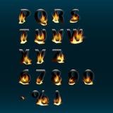 Letras y números calientes en el fuego Alfabeto Fuente de vector ardiente del fuego Parte 2 Foto de archivo