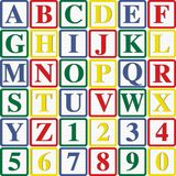 Letras y números de molde del bebé Fotos de archivo libres de regalías