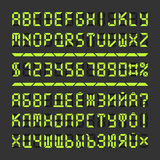 Letras y números llevados Digitaces del alfabeto de la fuente Fotografía de archivo libre de regalías