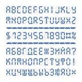 Letras y números del alfabeto de la fuente de Digitaces Imágenes de archivo libres de regalías