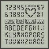 Letras y números del alfabeto de la fuente del indicador digital Imágenes de archivo libres de regalías