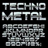 Letras y símbolos del estilo del metal de Techno Imagen de archivo