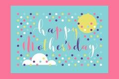 Letras y sol manuscritos felices del día de madres con la nube ilustración del vector