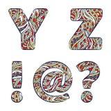 Letras Y, Z, marca de exclamação, ponto de interrogação, no anúncio publicitário Alfabeto colorido ajustado de testes padrões das Imagem de Stock