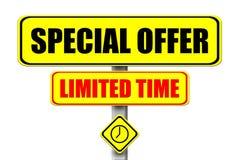 Letrero amarillo con el writt del tiempo de Special Offer Limited de las palabras Fotos de archivo