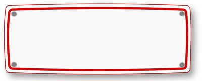 Letrero blanco con el marco rojo ilustración del vector