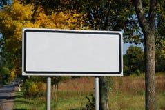 Letrero blanco vacío Foto de archivo