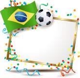 Letrero brasileño, tema del fútbol Imagen de archivo