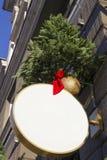 Letrero con las decoraciones de la Navidad Mofa para arriba Dimensión de una variable redonda Imagenes de archivo