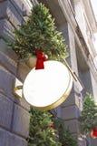 Letrero con las decoraciones de la Navidad Mofa para arriba Dimensión de una variable redonda Fotos de archivo libres de regalías