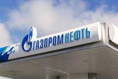 Letrero de Gazpromneft Imagen de archivo