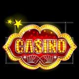 Letrero de la luz de neón para el casino Imágenes de archivo libres de regalías