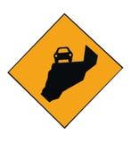 Letrero de la montaña de la precaución Foto de archivo libre de regalías