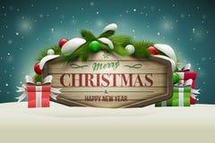 Letrero de madera de la Navidad Fotografía de archivo libre de regalías