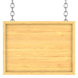 Letrero de madera en las cadenas Fotografía de archivo