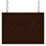 Letrero de madera en las cadenas Fotografía de archivo libre de regalías