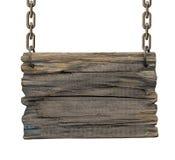 Letrero de madera medieval de la taberna en blanco vieja Foto de archivo libre de regalías