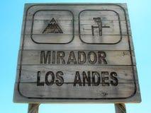 Letrero de Mirador Los los Andes de madera Fotos de archivo