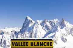 Letrero de Vallee Blanche Fotos de archivo libres de regalías
