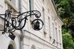 Letrero del vintage en Budapest, Hungría Imagen de archivo libre de regalías