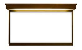 Letrero en blanco con el marco de madera Fotografía de archivo