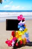 Letrero en la playa arenosa Imagen de archivo