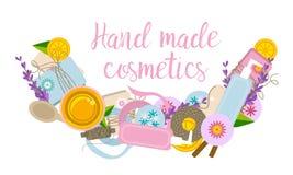 Letrero o logotipo con los ingredientes y las herramientas para el jabón hecho a mano ilustración del vector