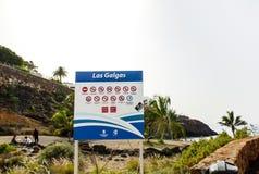 Letrero Playa Las Galgas imagen de archivo