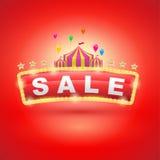 Letrero retro con la tienda de circo Fotografía de archivo libre de regalías