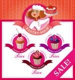Letrero y menú para la tienda de pasteles Imagen de archivo