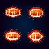 Letreros brillantes para los lugares o el casino de juego Imagen de archivo libre de regalías