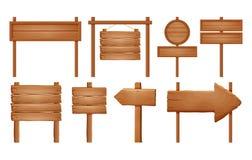 Letreros de madera, sistema de madera de la muestra de la flecha Colección vacía de la bandera del letrero aislada en el fondo bl ilustración del vector
