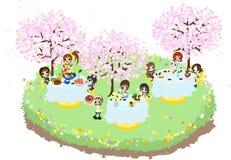 樱桃开花的咖啡馆3 免版税库存图片