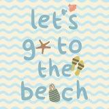 Lets去与袋子,拖鞋,壳,海星印刷品海报的海滩 库存照片