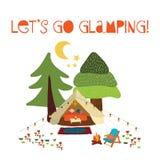 Lets пойти glamping - иллюстрация вектора сцены лета располагаясь лагерем Шатер teepee Boho Сцена ночи лагеря с лагерным костером иллюстрация штока