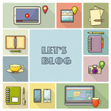 Lets blog card.  Vector illustration for social media. Royalty Free Stock Photos