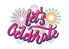 Lets celebrate background with color letters and fireworks in flat style. For birthday anniversary party concept. Isolated on white. Vector illustration Royalty Free Stock Photography