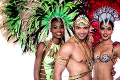 Lets celebrate carnival with us !. Beautiful carnival dancers with amazing costume Stock Photo