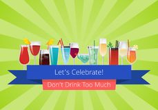 Lets Celebrate Don t Drink Too Much Set of Drinks. Cocktails wine and champagne beverages in glasses vector illustrations on green background with rays Stock Photography