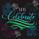 Lets celebrate handlettering with background stock illustration